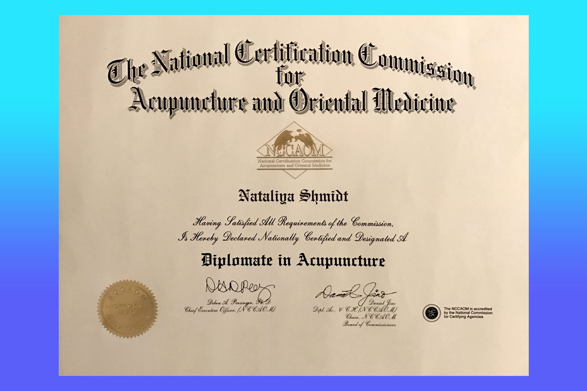 Dr natalia shmidt certification the national certification commission for acupuncture and oriental medicine 1betcityfo Images