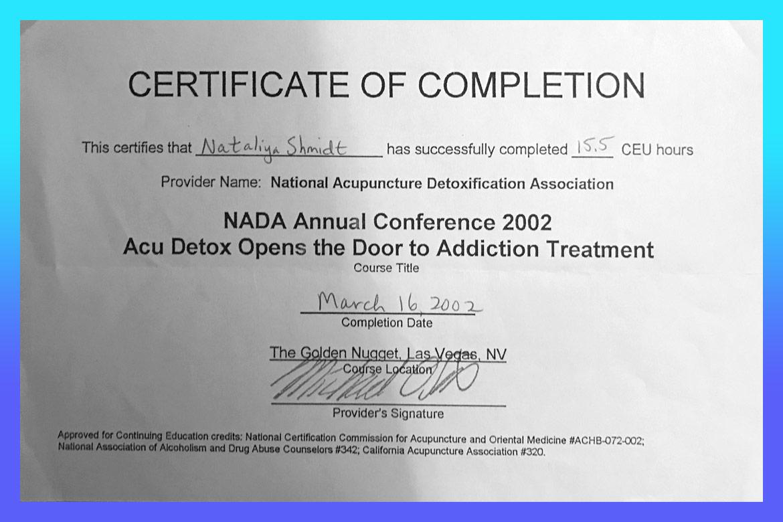 Dr Natalia Shmidt Certification