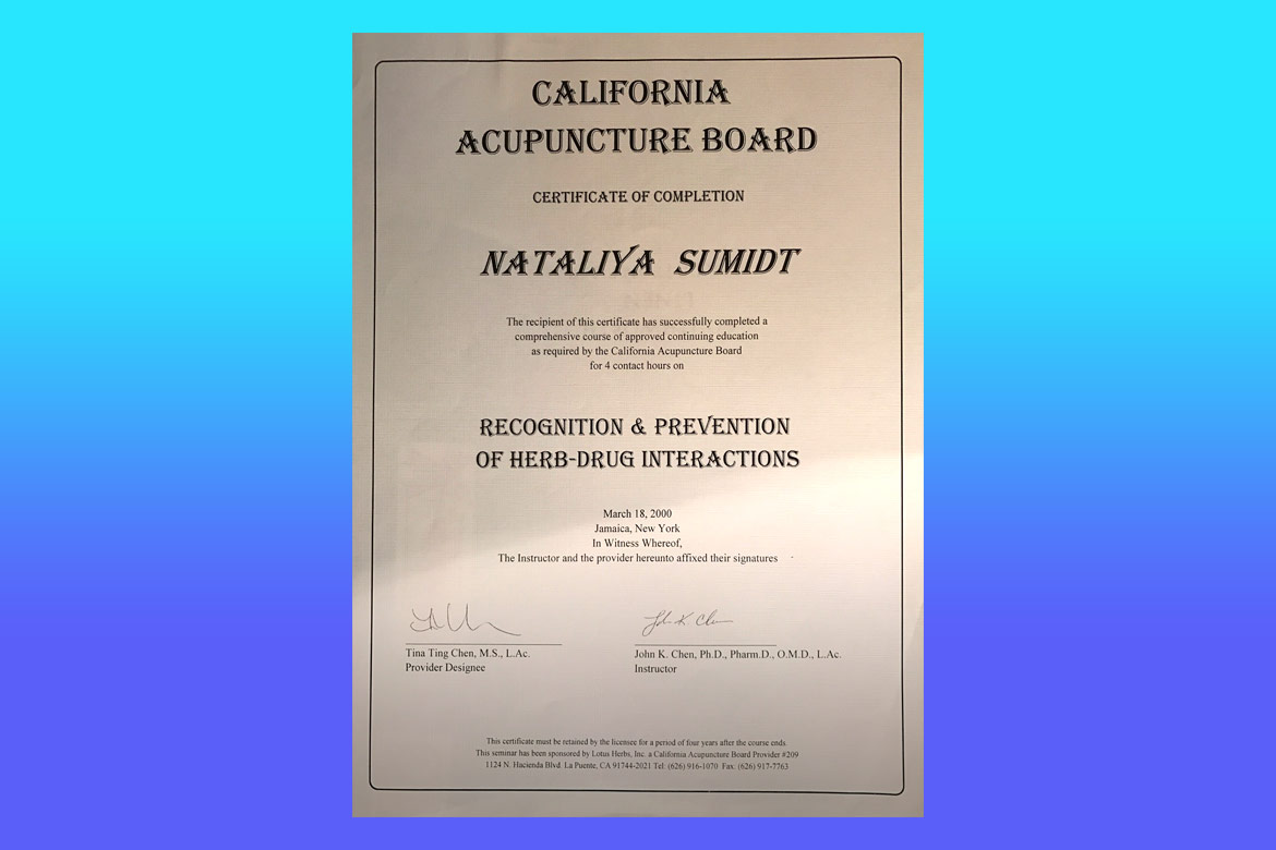 Dr natalia shmidt certification california acupuncture board herb drug interations 1betcityfo Images