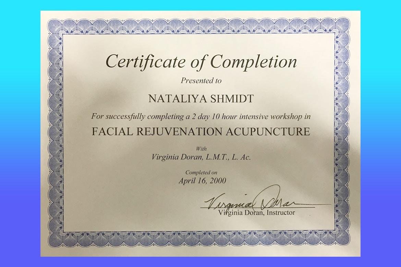 Dr natalia shmidt certification facial rejuvenation acupuncture certificate 1betcityfo Images