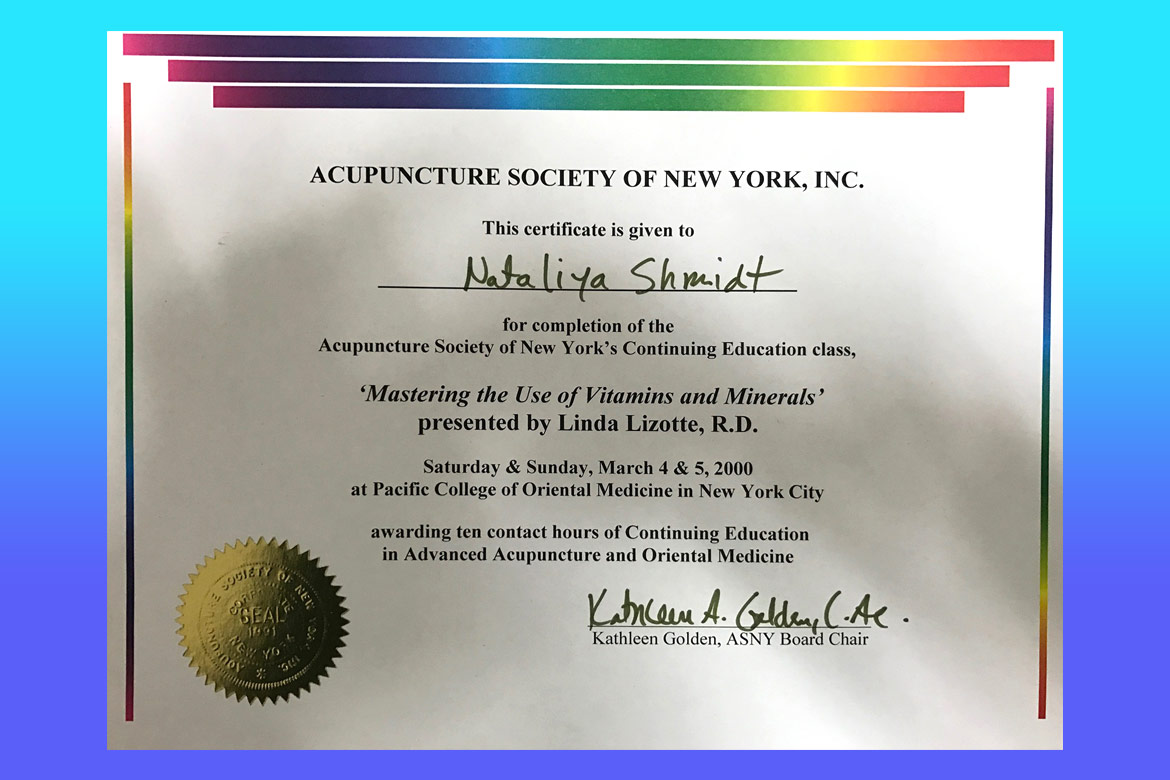 Dr natalia shmidt certification acupuncture society of new york certificate 1betcityfo Images
