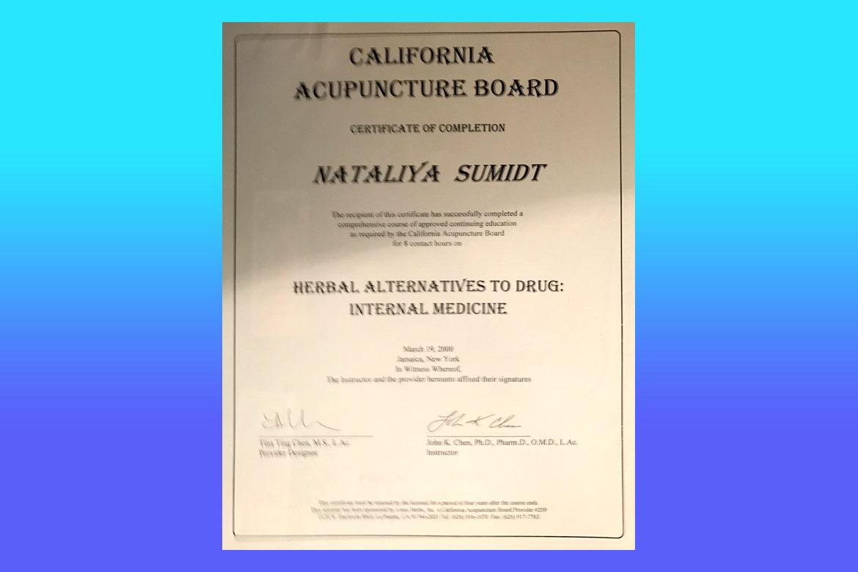 Dr natalia shmidt certification california acupuncture board internal medicine certificate 1betcityfo Images