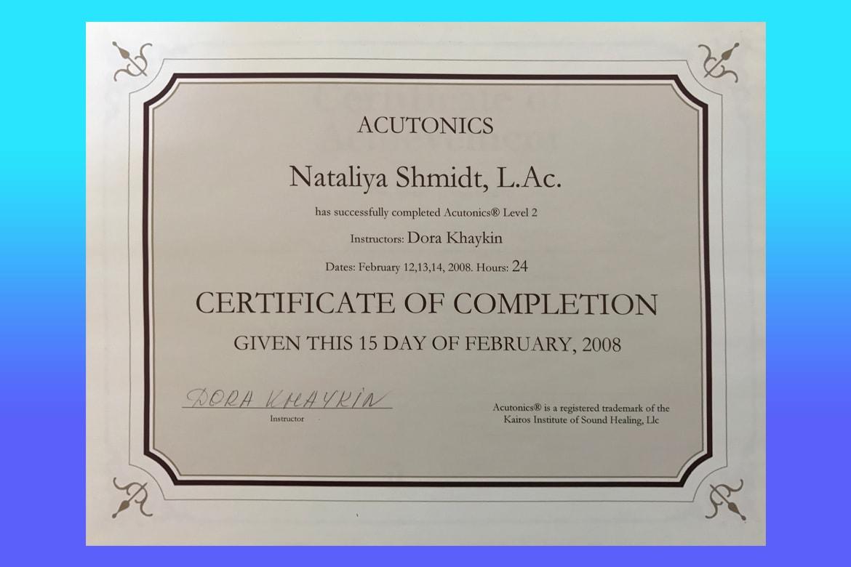 Dr. Natalia Shmidt | Certification
